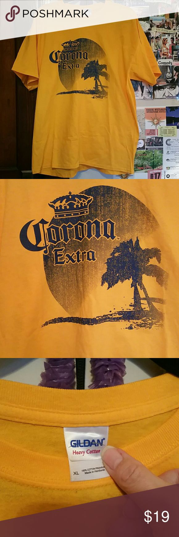 New yellow Corona Extra tee shirt size XL Heavy 100% cotton preshrunk. Never worn or washed. For the Corona lover who likes to proclaim it with a tee. This is unisex. It can be worn by men or women.  A very nice gift that you will get big hugs for! Corona Tops Tees - Short Sleeve