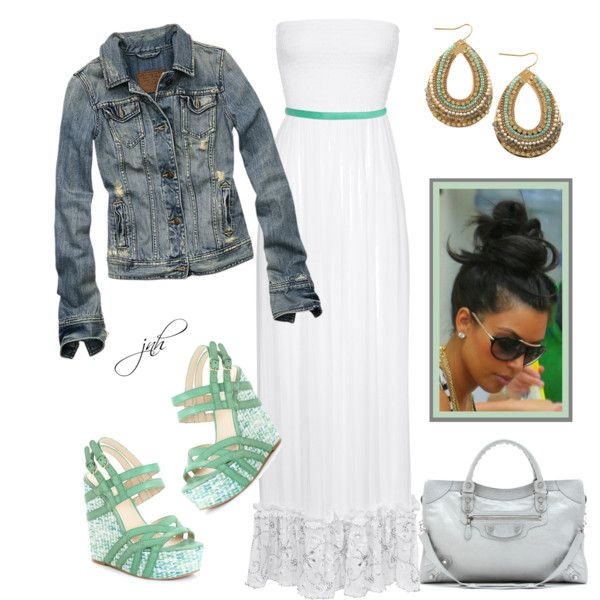 <3: Shoes, Date Night, Dreams Closet, Jeans Jackets, Outfit, Green Wedges, White Maxi Dresses, Summer Clothing, Maxi Skirts