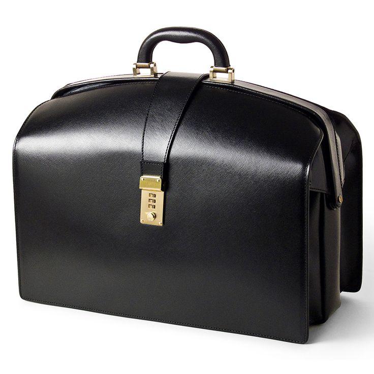Pierotucci Limited Edition Saffiano Leather Doctors Bag with combination lock, Black | Fendrihan Shaving Store