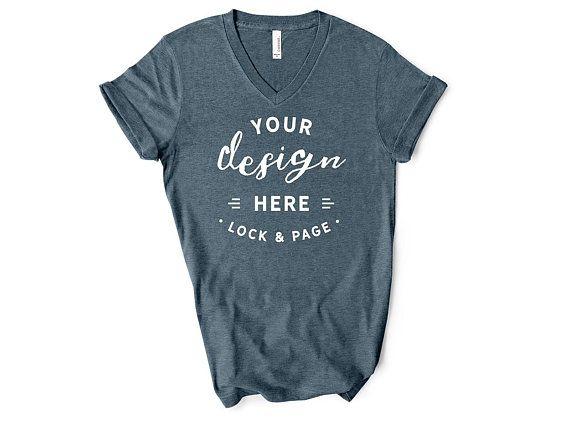 Download Free Heather Slate Bella Canvas 3005 Vneck T Shirt Mockup Psd Free Psd Mockups Shirt Mockup Mockup Free Psd Free Packaging Mockup