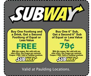 Free Subway Coupons 2013 - March Printable Coupons