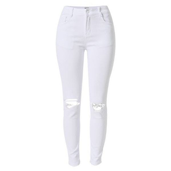 Rip Knee Skinny Jeans in White Celebrity Fashion Lookbook