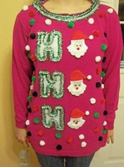 "Ugly DIY ""HO HO HO"" Christmas Sweater"