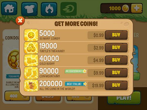 In app purchases game design ui ux
