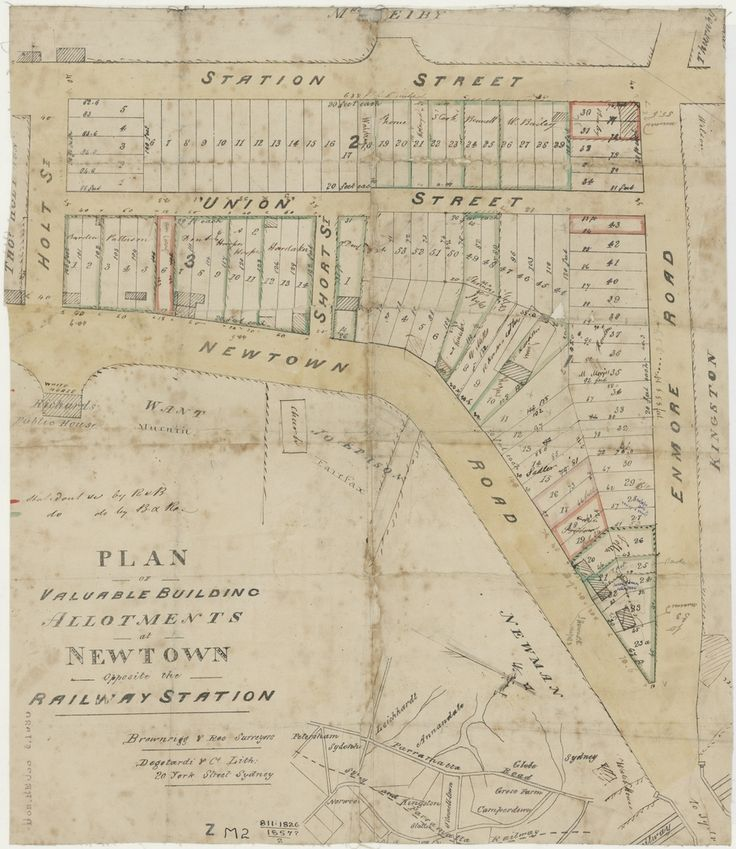 Brownrigg & Roe, Plan of valuable building allotments at Newtown opposite the railway station. 1857. Mitchell Library, State Library of New South Wales: http://library.sl.nsw.gov.au/record=b3189836