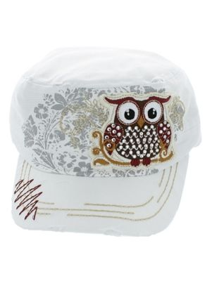 Trendy Owl Cadet Hat with Ponytail Hole - White