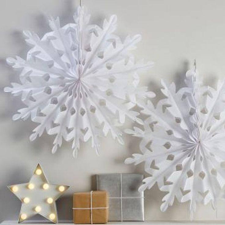 Giant White Christmas Snowflake Decorations 60cm Diameter for hanging 2 pack | eBay