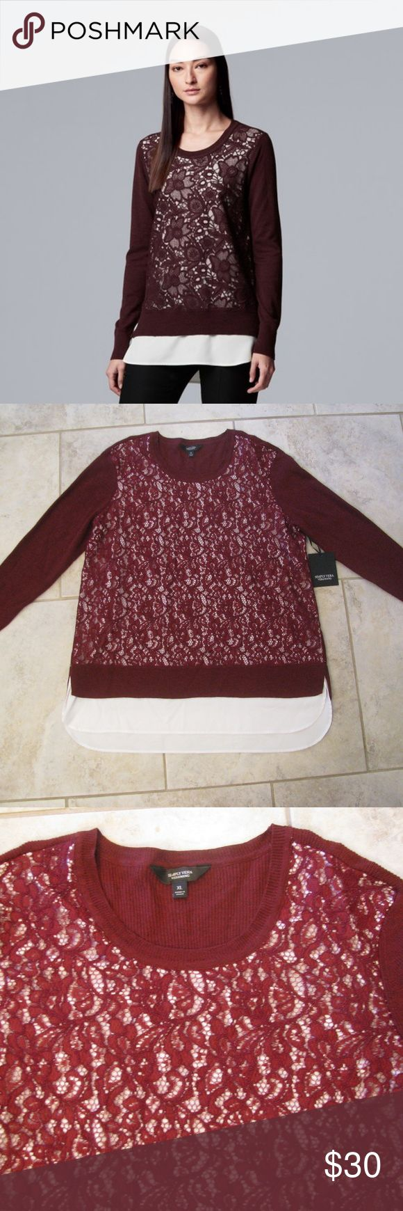 Womens Maroon Sweater Mock Layered Lace Overlay New With Tags ~ Cotton, Nylon, V…