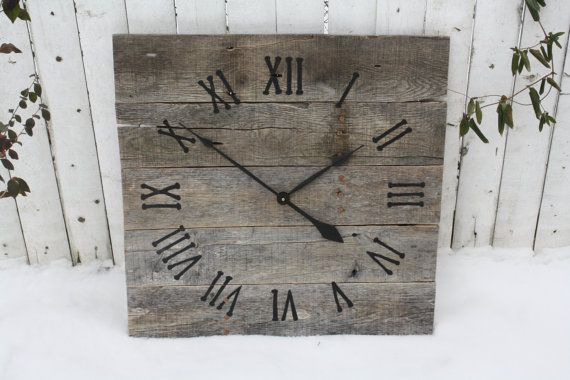 Hey, I found this really awesome Etsy listing at http://www.etsy.com/listing/124215489/large-rustic-wall-clock-reclaimed-gray