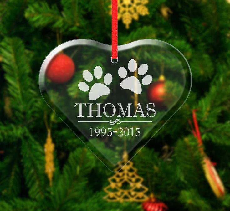 Paw prints personalized pet dog cat glass ornament passed