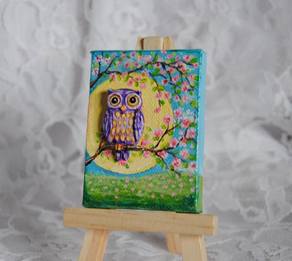 Miniature Acrylic Painting On Canvas With Clay Owl Acrylic Painting Canvas Canvas Painting Miniature Art