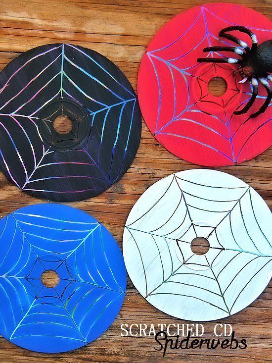 Paint Scratched CD Spiderwebs Halloween Craft