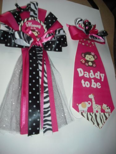 Baby-shower-corsage-Mommy-To-Be-jungle-safari-Monkey-calico-zebra-trim-corsage