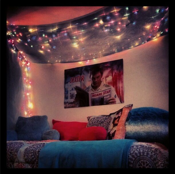 Decorating Ideas # My Christmas Lights Dorm Room Canopy Bed Curtain LUC