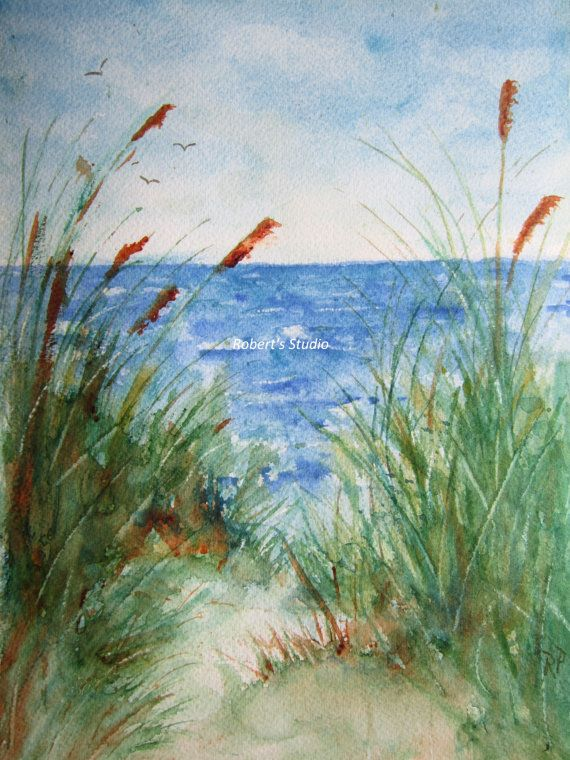 This is a print of my original watercolor painting.    TITLE: The Beach  PRINT: The print will come mounted, matted (acid free) and placed in an
