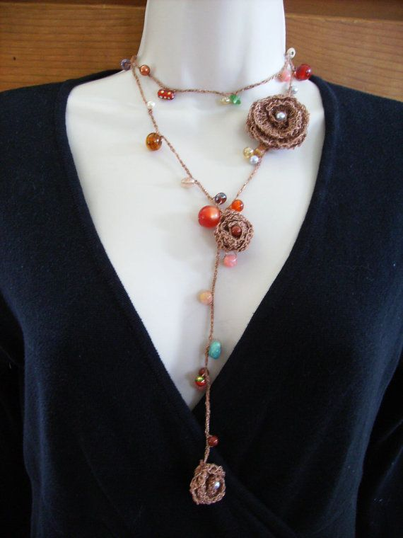 Copper Rose Crochet Lariat Necklace and Bracelet or by GimiKimi
