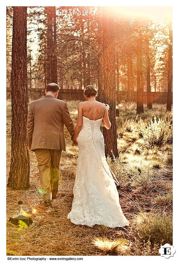 Stunning The bride and groom walk hand in hand at this High Desert Museum Wedding in Bend