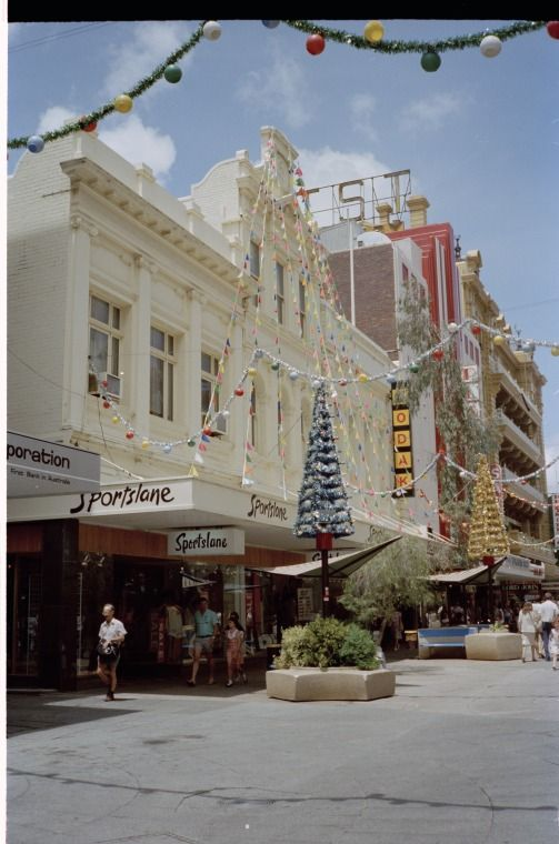311661PD: Sportslane and Kodak with Christmas Decorations in Hay Street Mall, Perth, December 1982 https://encore.slwa.wa.gov.au/iii/encore/record/C__Rb3799986