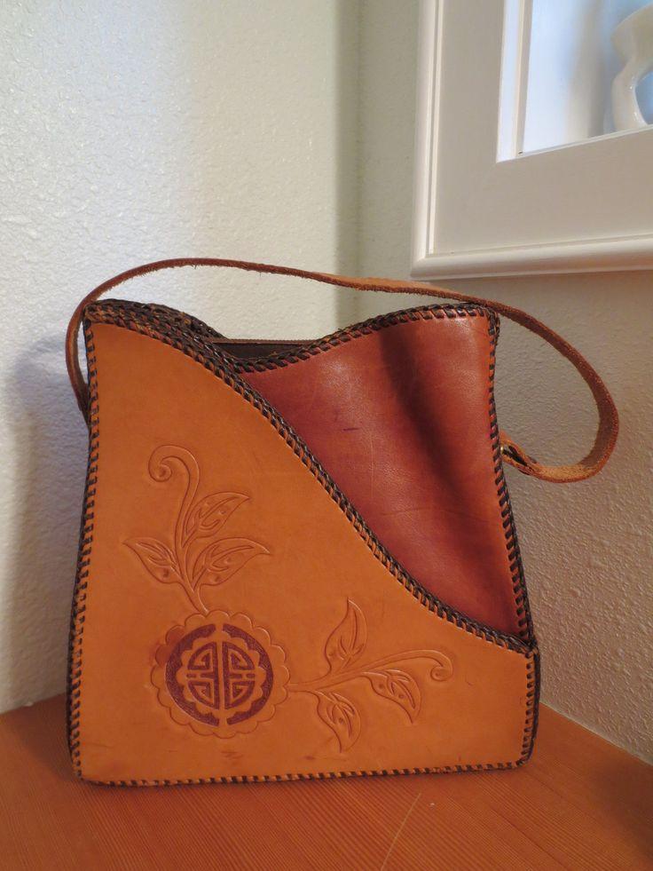 Vintage Mexican Tooled Leather Purse Handbag Purse Aztec Design. $48.00, via Etsy.