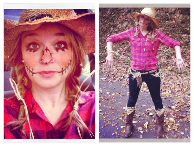 My version of the scarecrow Halloween costume for women! Face paint and all!