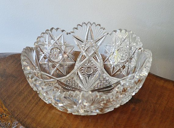 Crystal Serving Bowl Heavy Thick Hobstar by Collectitorium on Etsy