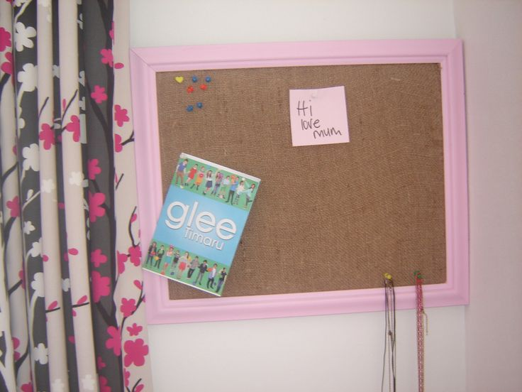 pin board I made for my daughters room, used an old from from recycling shop. Made the pin board part out of thick layers of cardboard and then covered in some hessian stuff and secured at the back. Pretty basic but works well.