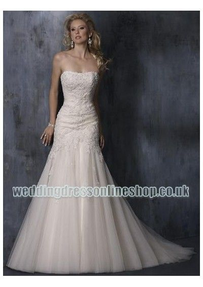 tulle strapless slim a line skirt with chapel strain lace up wedding dress wm 0240