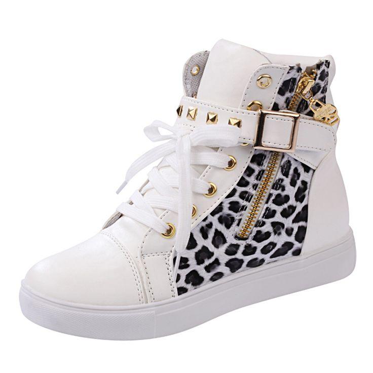 Mulheres da moda Sapatos Casuais 2016 Respirável Leopard High Top Plataforma Sapata de Lona Senhoras Botas Curtas Tornozelo Meninas em Calçados Casuais das mulheres de Sapatos no AliExpress.com | Alibaba Group