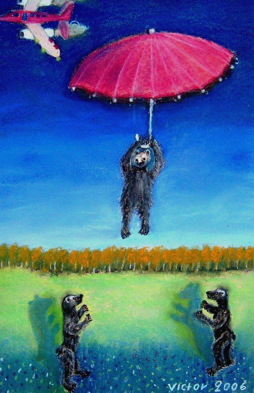 Nalles fallskärmshopp, pastell på papper. Nalle's parachute jump, pastel on paper.