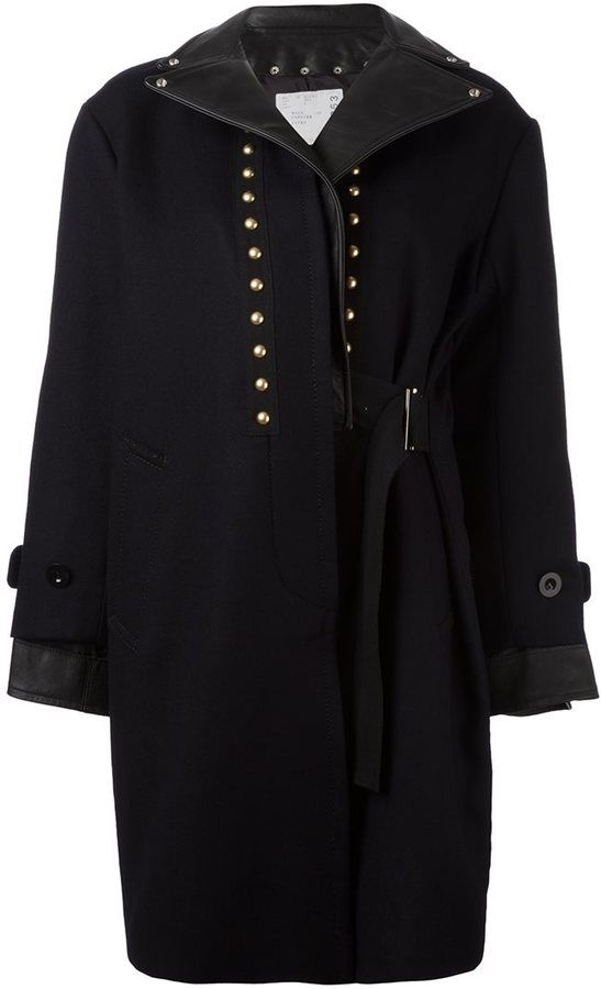 Sacai studded leather trim coat
