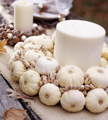 natural white pumpkin and pistachio wreath