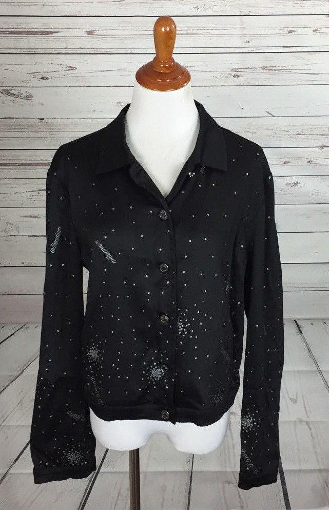 Iceberg Jeans Black Millennium Sparkle Cropped Jacket Sz Large 46 #Iceberg #Basic