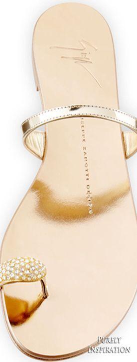 Giuseppe Zanotti Metallic Toe-Ring Flat Sandal, Gold | Purely Inspiration (scheduled via http://www.tailwindapp.com?utm_source=pinterest&utm_medium=twpin&utm_content=post161313995&utm_campaign=scheduler_attribution)