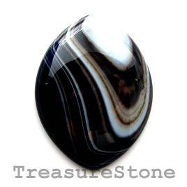 #Cabochon, black sardonyx, 30x40mm marquise.  #TreasureStone Beads Edmonton.