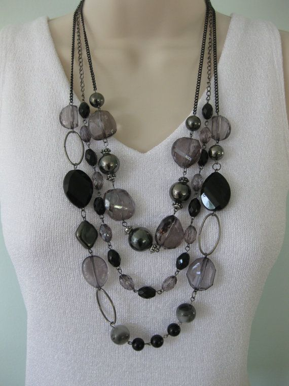 Chunky Large Beaded Black Grey Necklace by RalstonOriginals, $16.00