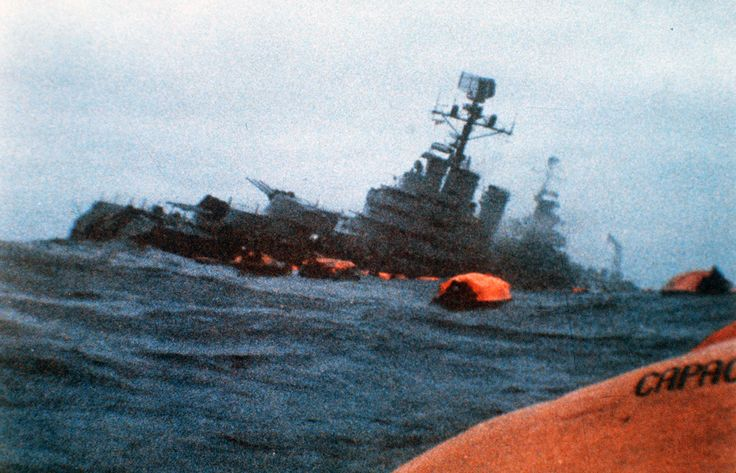 Argentine Battle Cruiser, the General Belgrano, (formerly USS Phoenix), sunk by British sub May 3, 1982, during the Falkland Islands war.