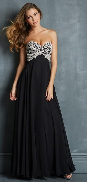 New A-line Chiffon Sweetheart Long Prom Dresses Empire Applique Lace-up