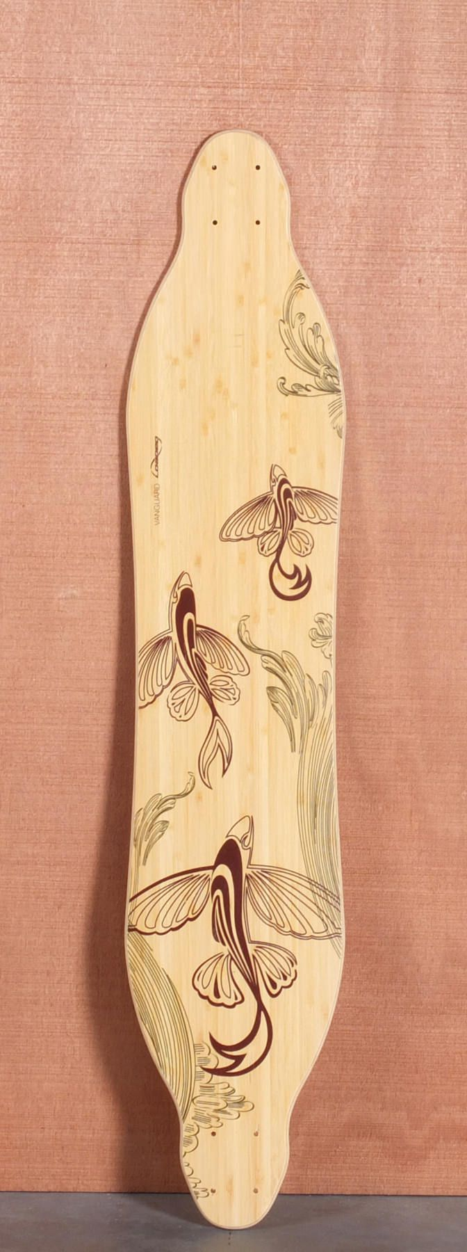 """Loaded 42"""" Vanguard Longboard Deck, Flex 2 - tattoo on wood"""