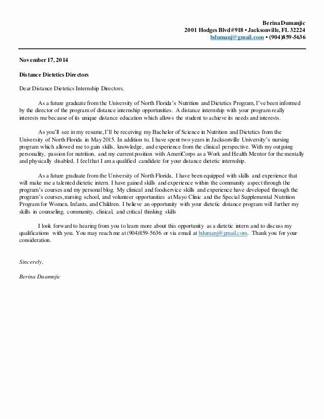 Cover Letter Template For Internship Beautiful Nutrition And Dietetics Internship Co Cover Letter For Internship Cover Letter For Resume Writing A Cover Letter