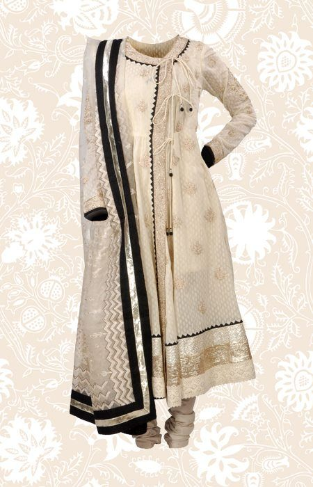 An exquisite Chanderi Angarkha with Khadi print and light Ari embroidery. Lightweight and striking!