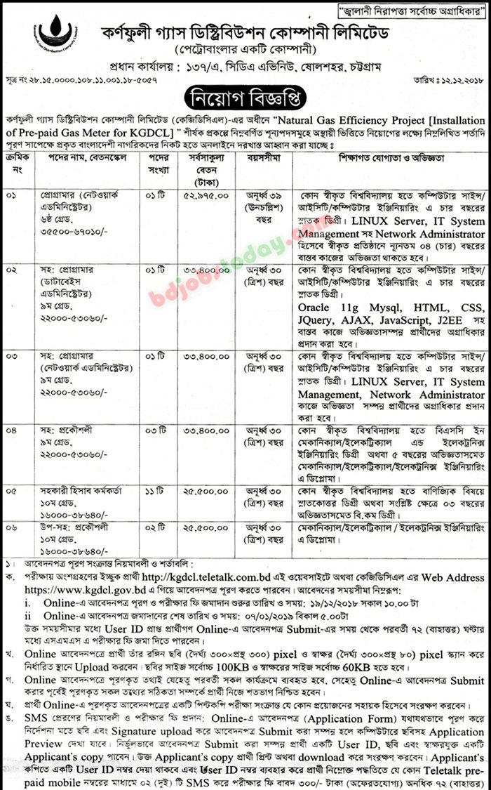 KGDCL Job Circular Apply| Admit Card 2019 - www kgdcl gov bd