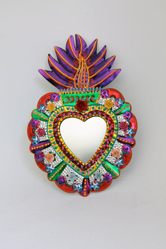 Sacred Heart tin metal mirror / Mexican folk art by TheVirginRose, $38.00