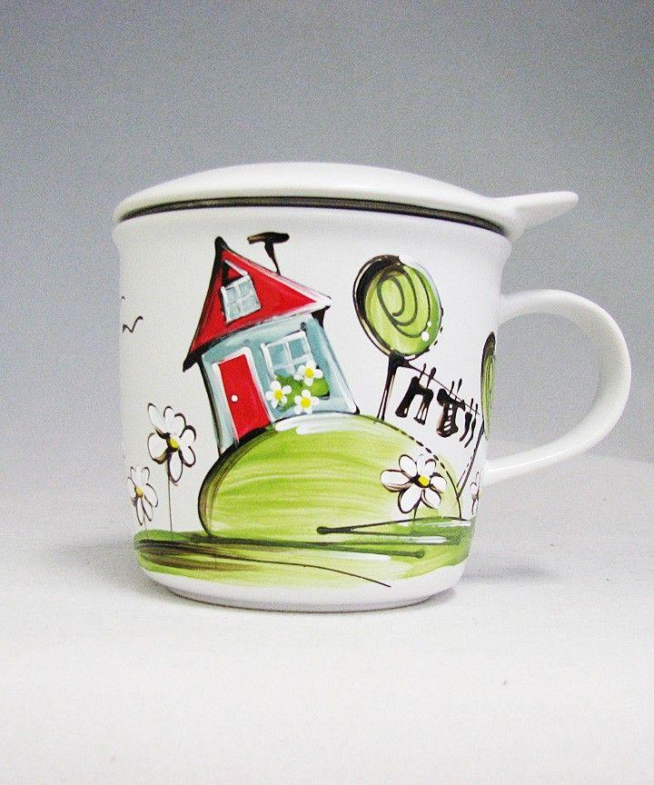 Tasse à tisane ou thé : : Maison  *** Produit peint à la main.