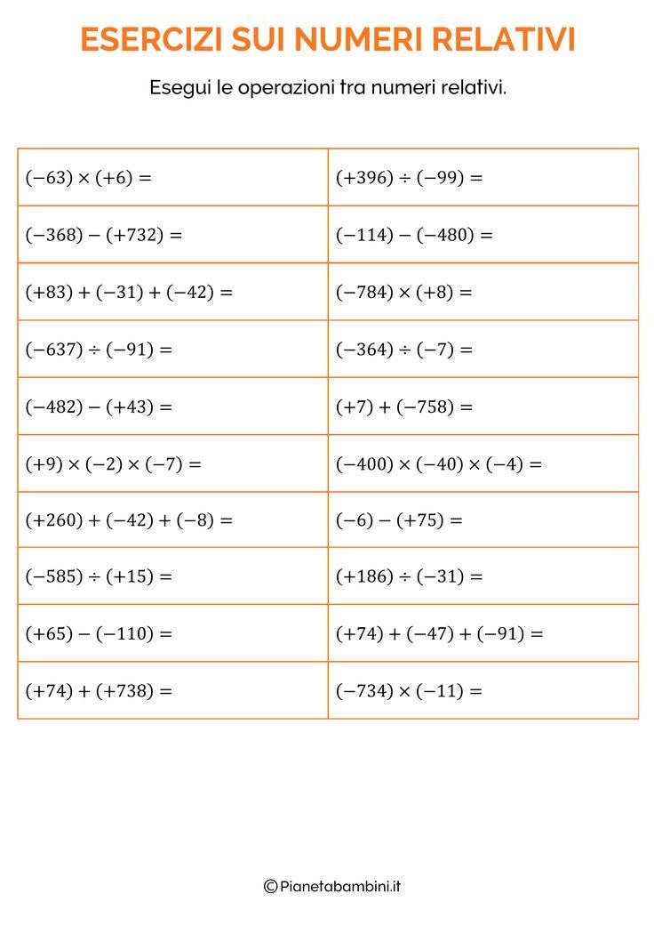Esercizi sui Numeri Relativi per la Scuola Primaria da ...