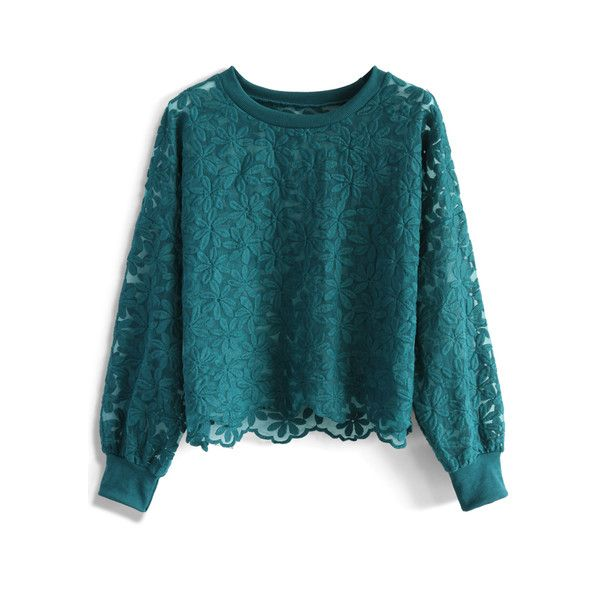 Chicwish Floral Land Embroidered Mesh Top in Turquoise ($33) ❤ liked on Polyvore featuring tops, green, flower print top, turquoise top, embroidered top, floral top and batwing sleeve tops