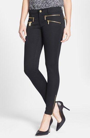 MICHAEL Michael Kors 'Rocker' Zip Detail Black Skinny Pants available at #Nordstrom