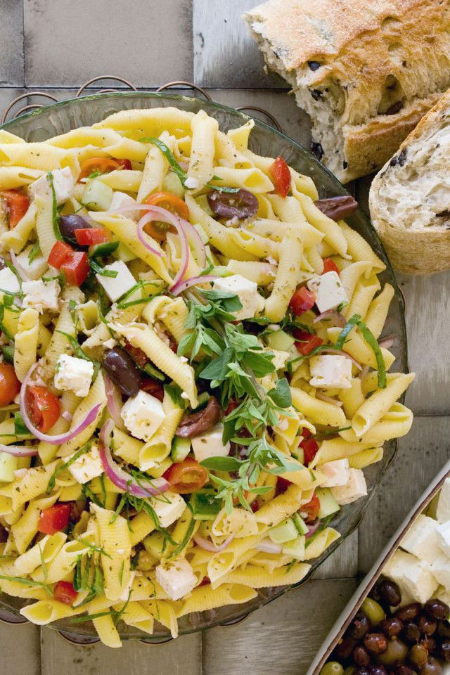 Greek Pasta Salad from The Blue Jean Chef, Meredith Laurence #Recipes