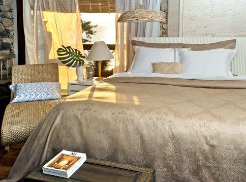 Colcha Jacquard Venice puro algodão egípcio com porta-travesseiro. Coleção verão 2016.