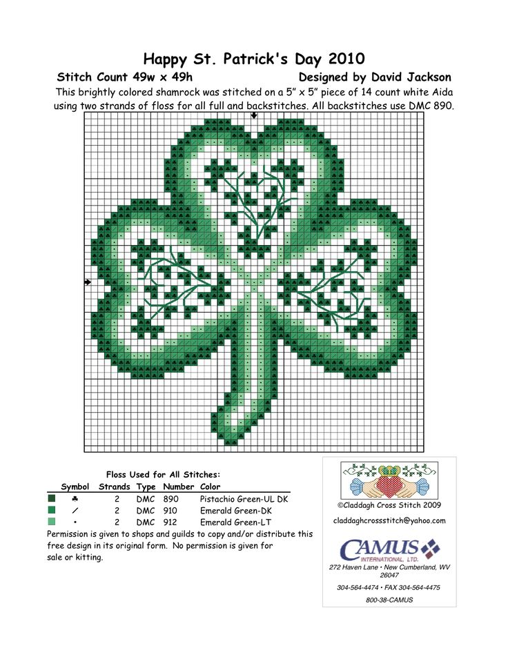 """Celtic Shamrock by Claddagh Cross Stitch via Camus International.  """"2nd in the set. Permission is given to pin."""""""