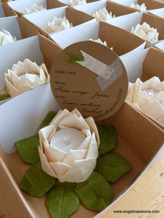 Lotus Lanterns-origami wedding favors. These are easy to make and can double as wonderful centerpieces.